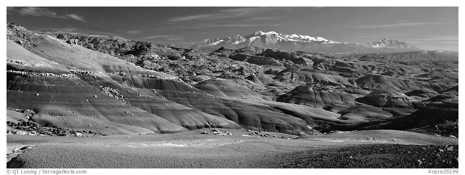 Mudstone landscape and snowy mountains, Cathedral Valley. Capitol Reef National Park (black and white)