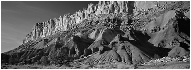 Multi-colored cliffs of Waterpocket Fold. Capitol Reef National Park (Panoramic black and white)