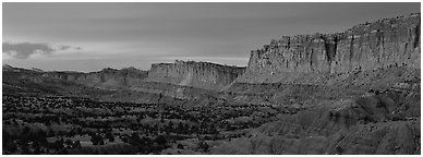 Sandstone cliffs at sunset. Capitol Reef National Park (Panoramic black and white)