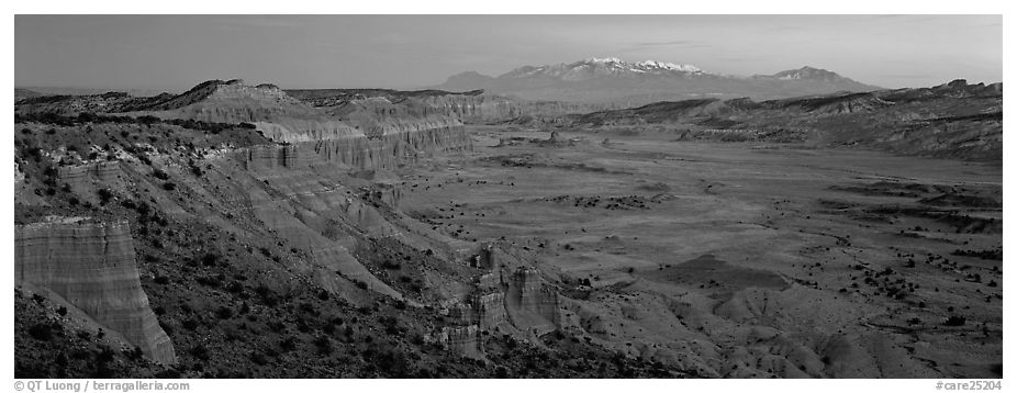 Desert view with cliffs and mountains at dusk. Capitol Reef National Park (black and white)