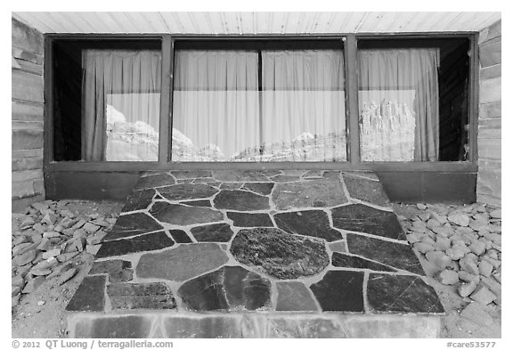 The Castle, Visitor Center window reflexion. Capitol Reef National Park (black and white)