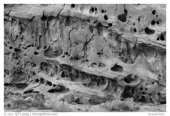 Sandstone cliff wall with holes, Grand Wash. Capitol Reef National Park (black and white)