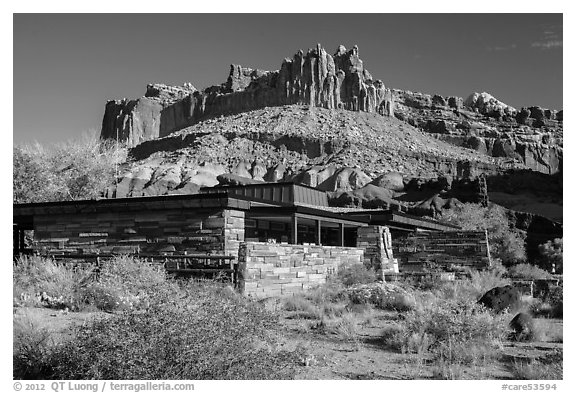 Visitor Center and Castle rock formation. Capitol Reef National Park (black and white)