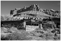 Visitor Center and Castle rock formation. Capitol Reef National Park, Utah, USA. (black and white)