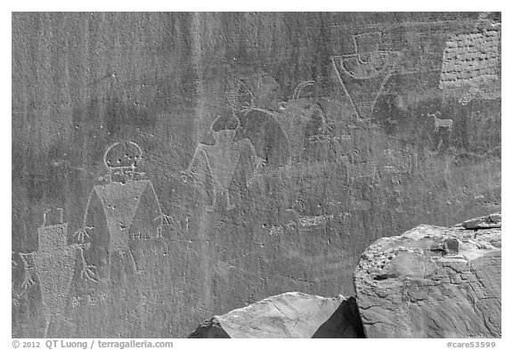 Fremont Petroglyphs of human figures. Capitol Reef National Park (black and white)