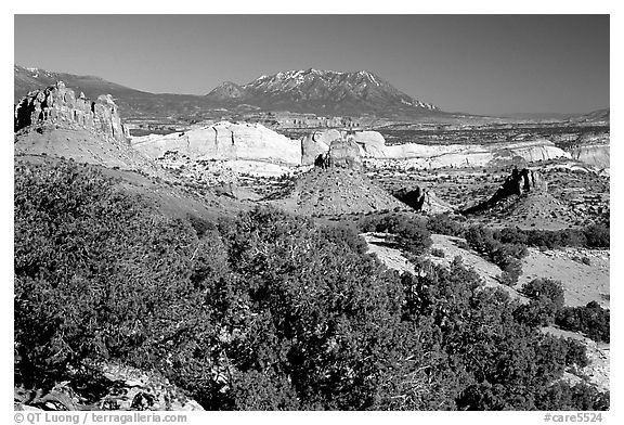 Waterpocket Fold from  Burr trail, afternoon. Capitol Reef National Park (black and white)