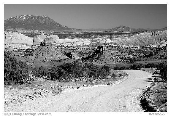 Waterpocket Fold and gravel road called Burr trail. Capitol Reef National Park (black and white)