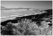 Strike Valley overlook view, late afternoon. Capitol Reef National Park ( black and white)