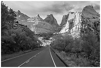 Road and domes in Fremont River Canyon. Capitol Reef National Park, Utah, USA. (black and white)