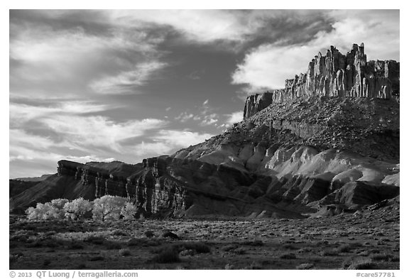 Late afternoon light on Castle and cottowoods in autumn. Capitol Reef National Park (black and white)