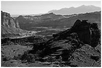 Morning from Sunset Point. Capitol Reef National Park, Utah, USA. (black and white)