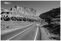 Road and cliffs. Capitol Reef National Park, Utah, USA. (black and white)