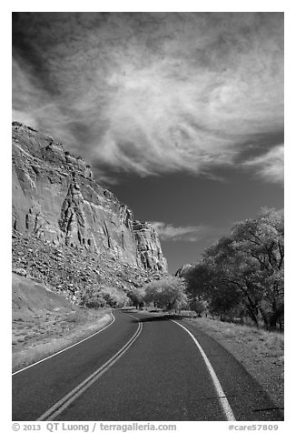 Road, Fruita Orchard in the fall. Capitol Reef National Park (black and white)