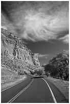 Road, Fruita Orchard in the fall. Capitol Reef National Park ( black and white)