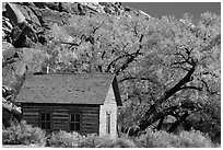 Fruita one-room schoolhouse in autumn. Capitol Reef National Park, Utah, USA. (black and white)