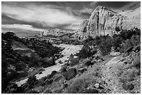Trail and Navajo Dome. Capitol Reef National Park ( black and white)