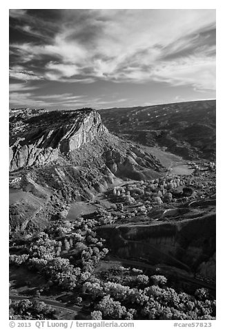 Waterpocket Fold  and orchards in the fall from Rim Overlook. Capitol Reef National Park (black and white)