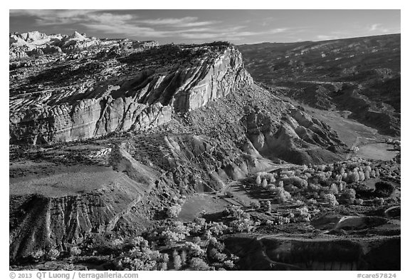 Waterpocket Fold cliffs and orchards from Rim Overlook in the fall. Capitol Reef National Park (black and white)