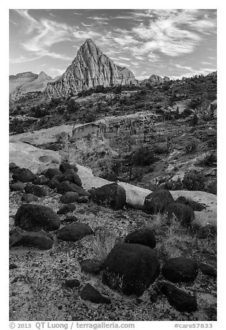 Balsalt boulders and Pectol Pyramid. Capitol Reef National Park (black and white)
