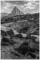 Balsalt boulders and Pectol Pyramid. Capitol Reef National Park, Utah, USA. (black and white)