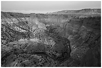 Goosenecks of Sulfur Creek and Waterpocket Fold at dawn. Capitol Reef National Park, Utah, USA. (black and white)
