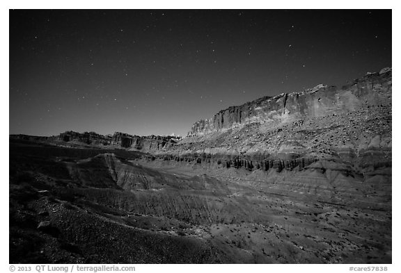Fluted cliffs of Waterpocket Fold at night. Capitol Reef National Park (black and white)