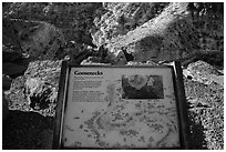 Interpretative sign, Sulfur Creek Goosenecks. Capitol Reef National Park, Utah, USA. (black and white)