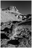 Balsalt Boulders and Wingate Sandstone crags of the Castle. Capitol Reef National Park, Utah, USA. (black and white)