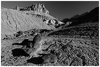 Balsalt Boulders, shale, Castle. Capitol Reef National Park, Utah, USA. (black and white)