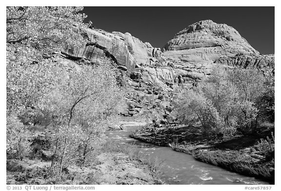 Fremont River and Capitol Dome in autumn. Capitol Reef National Park (black and white)