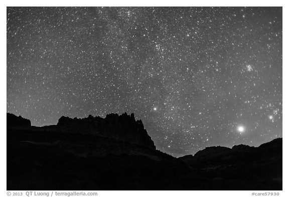 Castle under starry sky at night. Capitol Reef National Park (black and white)