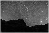 Castle under starry sky at night. Capitol Reef National Park ( black and white)