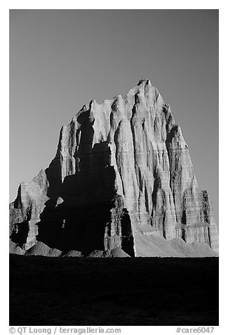 Temple of the Sun, Cathedral Valley, sunrise,. Capitol Reef National Park (black and white)