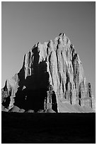 Temple of the Sun, Cathedral Valley, sunrise,. Capitol Reef National Park, Utah, USA. (black and white)
