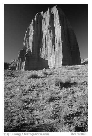 Temple of the Moon, Cathedral Valley, morning. Capitol Reef National Park (black and white)