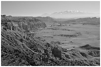Upper Desert overlook, Cathedral Valley, mid-day. Capitol Reef National Park, Utah, USA. (black and white)