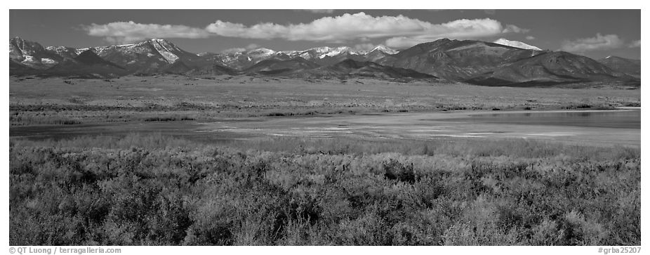 Sagebrush plain and Snake range rising above desert. Great Basin National Park (black and white)