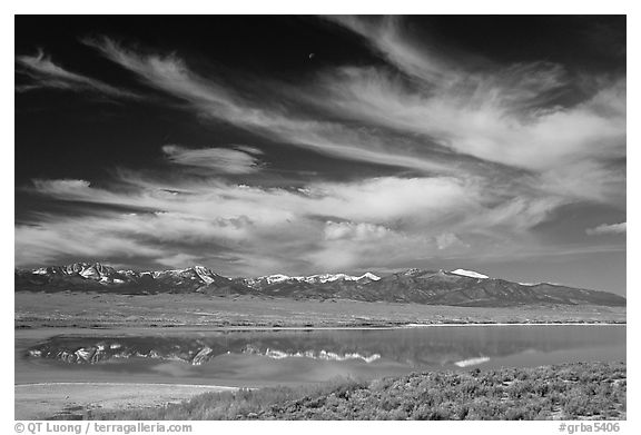 Snake Range seen from the East above a pond. Great Basin National Park (black and white)