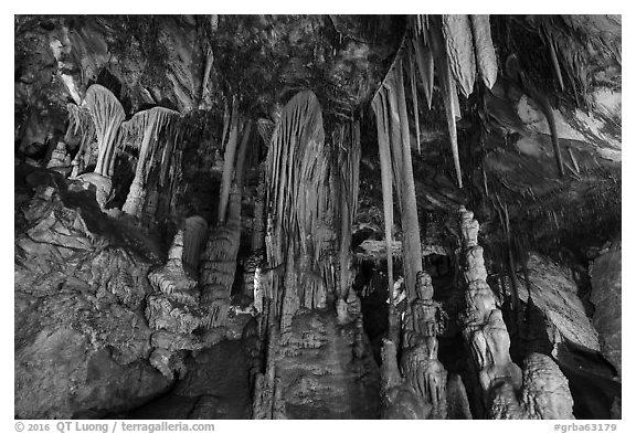Grand Palace Room, Lehman Cave. Great Basin National Park (black and white)