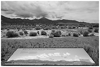 Desert meets mountains interpretive sign. Great Basin National Park ( black and white)
