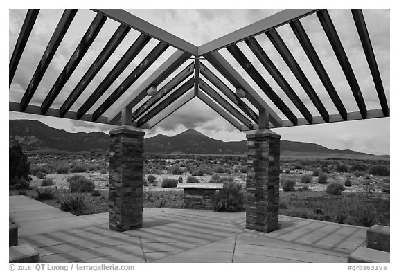 Courtyard, sign and mountains, Great Basin Visitor Center. Great Basin National Park (black and white)