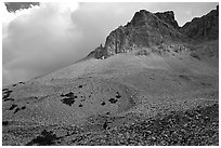 Peak, talus, and clouds. Great Basin National Park, Nevada, USA. (black and white)