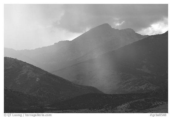 Rays over Snake Range and Wheeler Peak. Great Basin National Park (black and white)