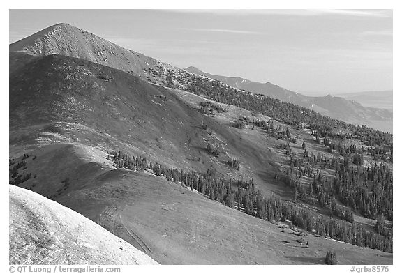 Multi-hued peaks, Snake range seen from Mt Washington, morning. Great Basin National Park (black and white)