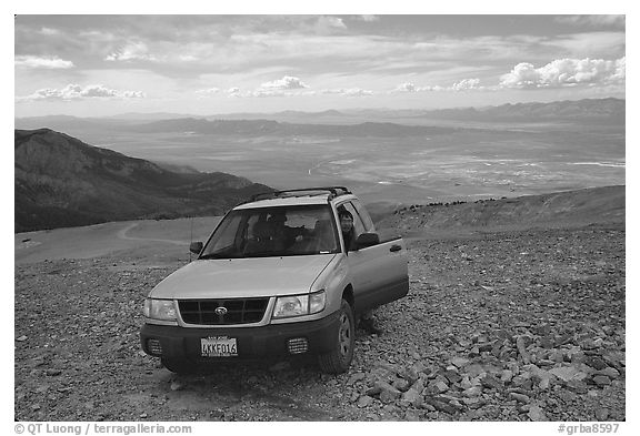 SUV on four wheel drive road on Mt Washington. Great Basin National Park (black and white)