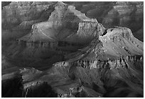 Temples at Dawn from Yvapai Point. Grand Canyon National Park ( black and white)