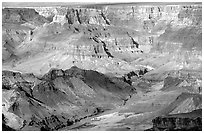 Colorado River from  South Rim. Grand Canyon National Park ( black and white)