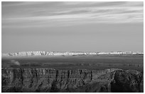 Painted Desert at sunset. Grand Canyon National Park, Arizona, USA. (black and white)