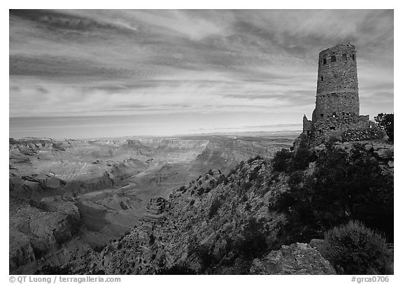Watchtower, late afternoon. Grand Canyon National Park (black and white)