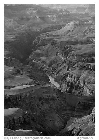 Granite Gorge, afternoon. Grand Canyon National Park (black and white)